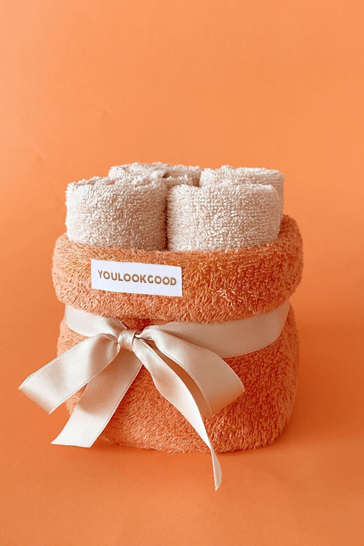 """5 dalių vonios rankšluosčių rinkinys """"Apelsinas"""""""