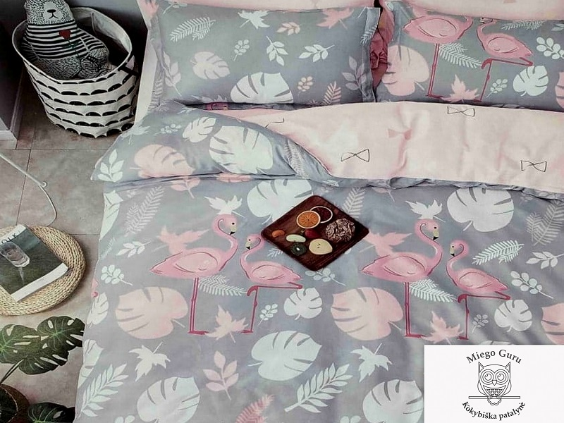"200×220 cm dvipusis patalynės komplektas ""Pink Flamingo"""